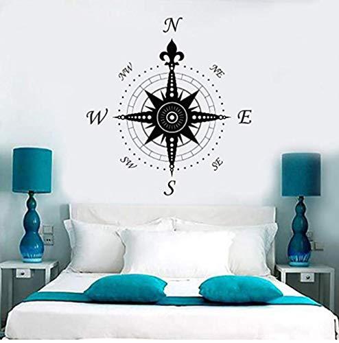 KECYB Kompass Rose Dekoration Geographie Reise Vinyl Aufkleber Für Kindergarten Kinderzimmer Jungen Schlafzimmer Home Art Decals 42X44 Cm -