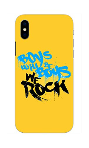 Madanyu Boys Will Be Boys We Rock Typography Designer Printed Hard Back Shell Case for iPhone Xs