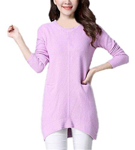 Haililais Femmes Mode Knitted Pull Casual Manches Longues Col O Sweater Basique En Tricot Couture Dentelle Top Détendu Couleur Unie Blouse Ourlet Irrégulier pink