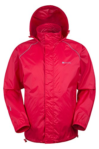 Mountain Warehouse Pakka wasserdichte Herrenjacke zusammenfaltbare Regenjacke Windjacke Kapuze Tragebeutel Camping Outdoor Rot XXX-Large