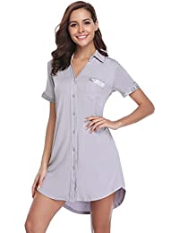 Hawiton Pijamas de Manga Corta Mujer Camisón Verano Vestido de Dormir Camisa de Noche con Cuello