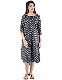 ANAYNA Women's Cotton Printed Assymetrical Front Open Kurta ( Black)