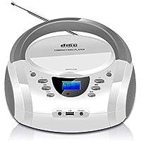 LONPOO Lectores de CD portátiles, Bluetooth Reproductor CD con Altavoz HiFi, USB, Radio FM, Entrada AUX y Conector para Auriculares