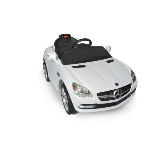 HOMCOM Coche Eléctrico Bateria 6V + Mando Control Remoto para Padres Conexion MP3 Llaves Encendido Luces de Faros y Claxon Mercedes Benz 81200 Blanco Automóviles Infantiles para Niños