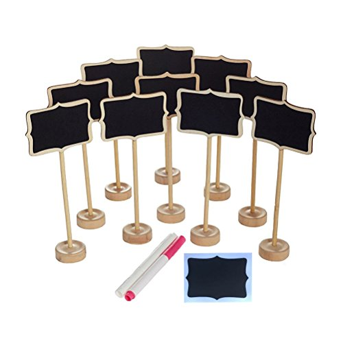 NUOLUX 10 Pces Message Board Signs Mini Rectangle Chalkboard with Stand ,2 Liquid Chalks and 10 Pieces Replace Film