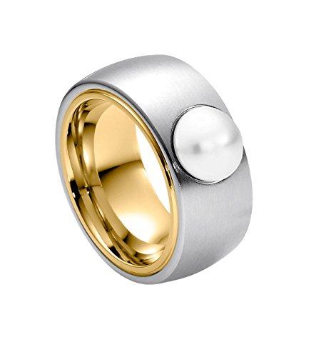 Heideman Ring Damen Coma Bicolor aus Edelstahl Gold farbend matt Damenring für Frauen mit Swarovski Perle