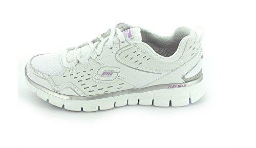 SKECHERS Women's Synergy – Front Row White/Silver Sneaker 6.5 B (M)