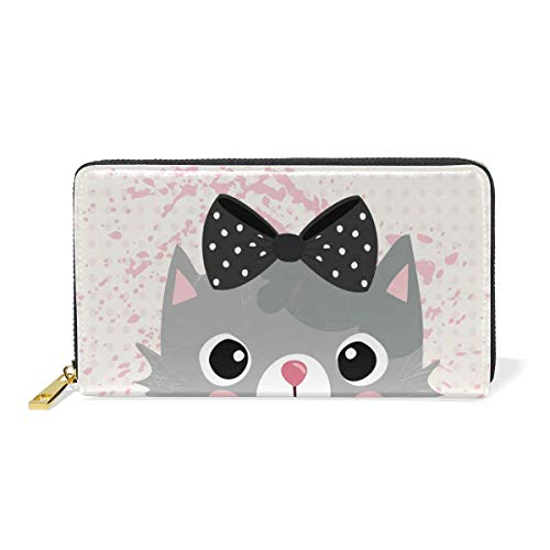 Agoyls Geldbörse Portemonnaie Cute Cat Luxury Genuine Leather Girl Zipper Wallets Clutch Coin Phone for Women -