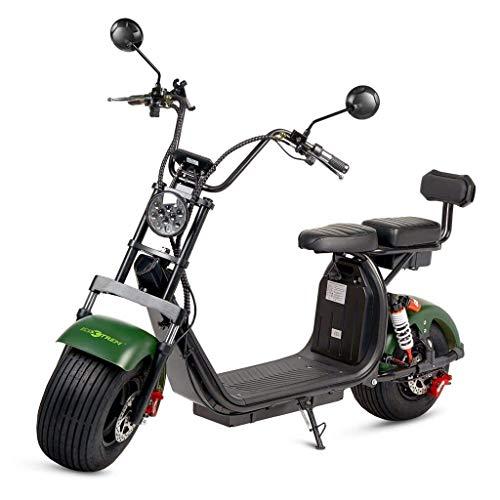 Moto electrica Scooter 1200w bateria 12Ah 60v Patinete Patin Bici Bicicleta Motor Chopper City Coco Negra y Verde