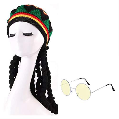 thematys Bob Marley Dreadlocks Perücke und Mütze mit Brille 2-teilig - perfekt für Fasching, Karneval & Cosplay - Damen Herren