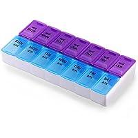 7 Tage Pill Box, ONEVER Tablet Halter Medizin Organizer wöchentlich mit 14pcs Grid, Transparent Dispenser, für... preisvergleich bei billige-tabletten.eu