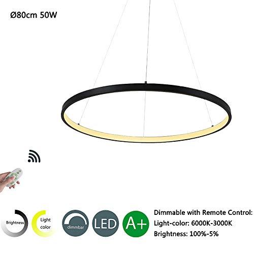 Modern LED Pendelleuchte Rund Design Hängeleuchte Wohnzimmer Lampe Esszimmer Kronleuchter Schlafzimmer Leuchte Küche Esstisch Hängelampe Büro Beleuchtung Deko (Schwarz, 80cm Dimmbar)