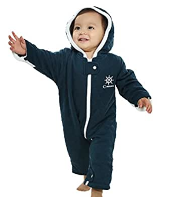 BABY BOY TODDLER QUILTED SNOWSUIT WINTER SUIT JACKET WARM ONE PIECE NAVY BLUE (12-18 Months, Navy Blue)