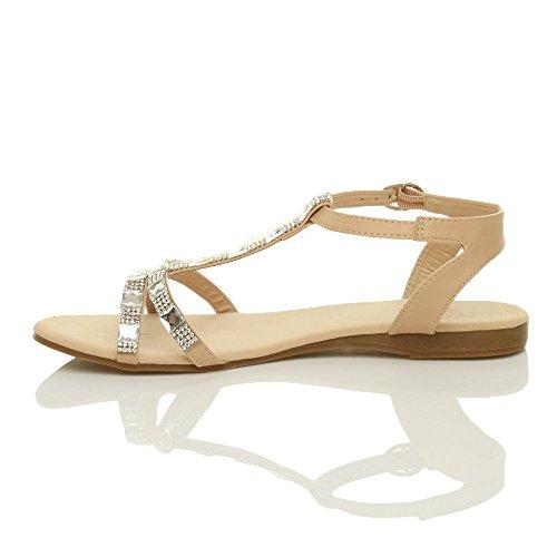 Donna piatto t-bar strass cinturino alla caviglia sandali gladiatore taglia Ecrù
