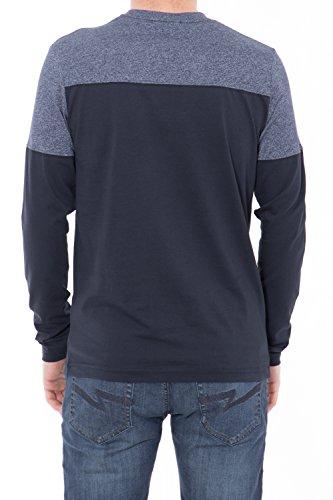 CANIZALES Basic Langarmshirt zweifarbig mit Schriftprint Herren Langarm Casualmode 4003 Blau