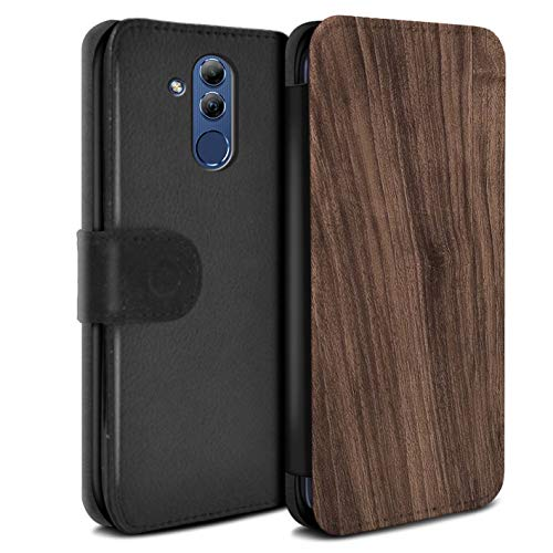 eSwish PU-Leder Hülle/Case/Tasche/Cover für Huawei Mate 20 Lite/Nussbaum Muster/Holz/Holzmaserung Muster Kollektion -