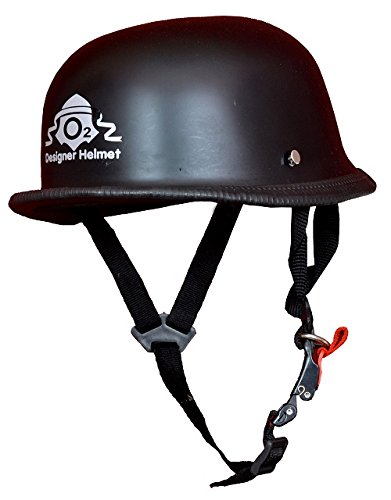 O2 Riderswear Open Face Matte Black German Hat