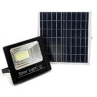 Luz Solar Exterior Con Mando a Distancia 60W, Foco Solar LED con Luz Cálida 2700K