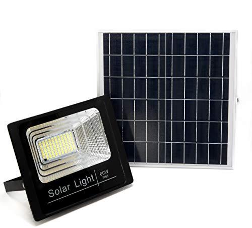 Luz Solar Exterior Con Mando a Distancia 60W, Foco Solar LED con Luz Cálida 2700K, Hasta 15 HORAS de Luz, Impermeable, Control Remoto, Exterior | Jardín | Caseta | Patio | Terrazas