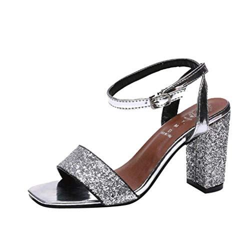 Sommer Splitter Glitter Sparkly Sandalen für Frauen, High Block Ferse Knöchel Riemchen verschönert Abend Open Toe Wide Fit Slingback Court Schuhe Größe 2-7 (Farbe : Silber, Größe : 3 UK)