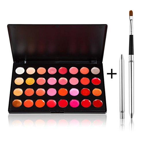 timesong 32 couleur brillant à lèvres stick Palette Kit de maquillage avec pinceau à lèvres rétractable