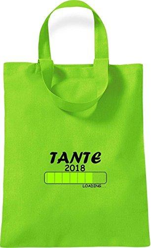 ShirtInStyle kleine Baumwolltasche TANTE 2018 Loading Geburt Geschenk Lime