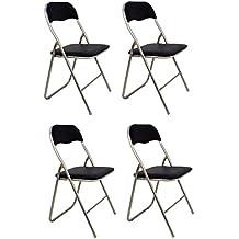 La Silla Española - Pack 4 Sillas plegables fabricadas en aluminio con asiento y respaldo acolchados