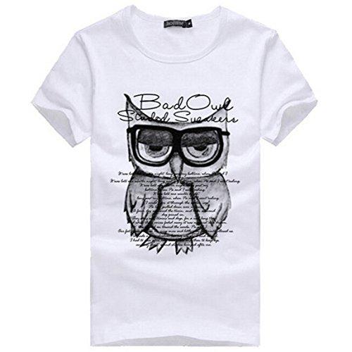 sky-moda-hombres-impresion-buho-camisa-de-manga-corta-de-algodon-camiseta-de-la-ropa-xl-blanco