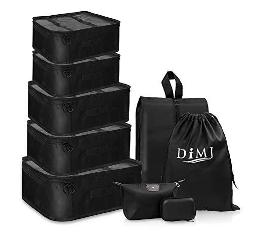 DIMJ Koffer Organizer 9 Teilig, mit 5 Packtaschen und EIN Kordelzugbeutel Schuhbeutel Kabel Aufbewahrungstasche Kosmetiktasche für Kofferorganizer Reise Würfel