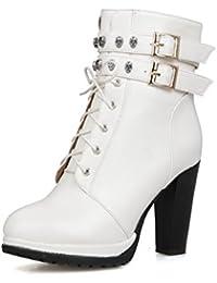 AgooLar Damen Schnüren Niedriger Absatz Weiches Material Gemischte Farbe Knöchel Hohe Stiefel, Weiß, 35