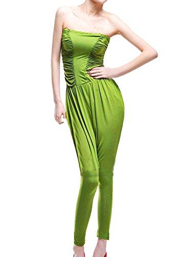 Femme Sans Bretelle Côté Froncée Long Extensible Combinaison Vert