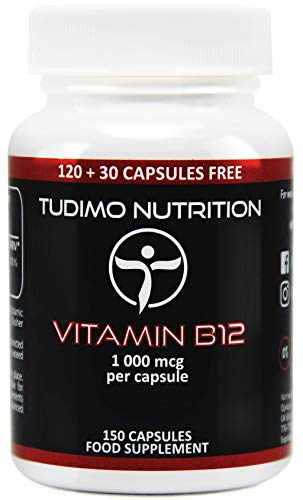 ★ Vitamin B12 ★ 1000 mcg ★ Vegan Kapseln – 150 Stück (5 Monatsvorrat) an Schnell Auflösende Kapseln, mit je 1000mcg an Hochwertigem Cyanocobalamin Pulver, von TUDIMO