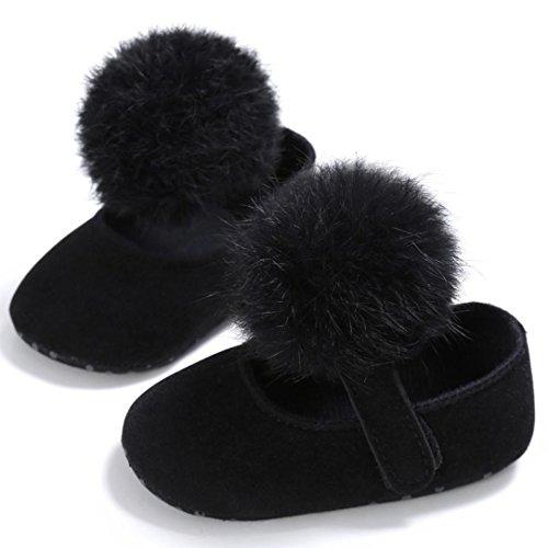 Clode® Tout-petit bébé Crib chaussures nouveau-né doux unique anti-dérapant Sneakers (0 ~ 6 Mois, Brun) Noir