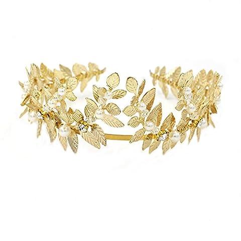 grec/Déesse romaine Feuille d'or Bandeau Diadème–Mariage Accessoires Cheveux avec ruban