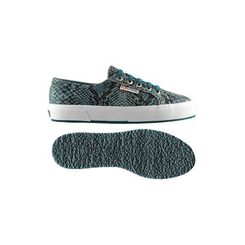 Superga 2750-Cotsnakew, Chaussures de Gymnastique Femme SnakeGreenSpruce-Blk