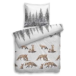 Heckett & Lane Biber-Flanell Bettwäsche Ruda l Größe 135x200 cm 80x80 l Farbe Multi l Füchse In Schneelandschaft l Reine Baumwolle