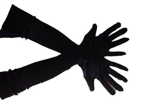 Foxxeo 10022-A | Handschuhe schwarz lange schwarze lang Halloween (Schwarze Kostüme Handschuhe)