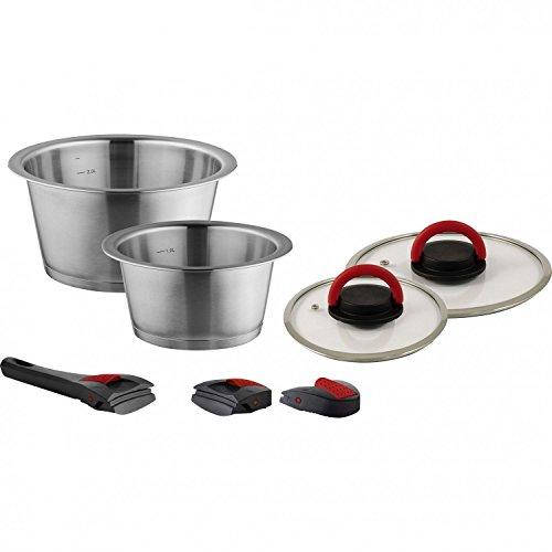 Preisvergleich Produktbild B / R / K Topfset 7 teilig Quick Clack Pro Edelstahl 1, 3 Liter und 2, 8 Liter Kochtopf Pfanne