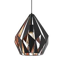 Eglo, Carlton 1, 49254, lampadario a sospensione, E27, acciaio inossidabile, nero/rame, glühlampe