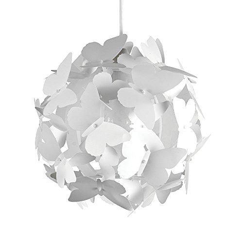 MiniSun – Moderner und weißer Lampenschirm für Kinderzimmer mit Schmetterlingenmotiv – für Hänge- und Pendelleuchte