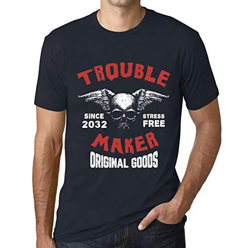 Herren Tee Männer Vintage T shirt Trouble Maker 2032 Marine