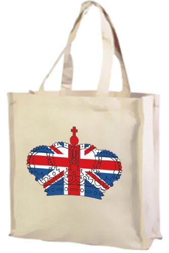 Best of British Union Jack-Borsa per la spesa, in cotone, a forma di corona (crema)