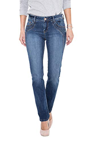 ATT Jeans Slim Fit Jeans mit floraler Applikation Stella Damen Abgesteppte Kante Straight-Jeans modisch Straight fit Used -