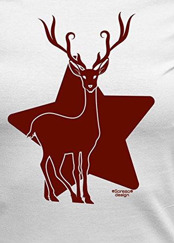 Weihnachts-Geschenke-Girlie-Fun-Tshirt für Damen mit Urkunde Motiv: Renntier Farbe: weiss Weiß