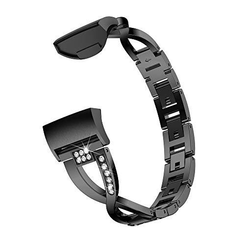 Igemy X-Link Metallarmbänder Ersatz Verstellbare Riemen mit Crystal Fit Fitbit Charge 3 (Schwarz)