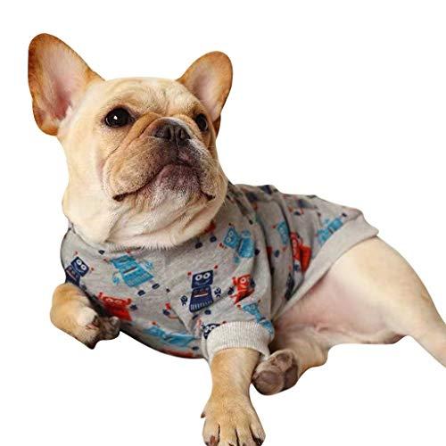 dung Bulldogge Weste Sweatshirt, Kleine Hunde Welpen Chihuahua Warm T-Shirt Pullover (S, Grau) ()