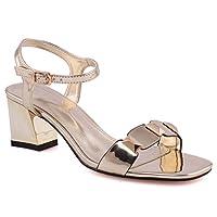 Unze Women Freya Mid-Low Block Heel Sandal Ankle Strap Slingback Decorated Toe Strap Buckle Closure Casual Summer Sandal UK Size 3-8 Gold