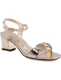 3eab94f84da794 Unze Women Freya Mid-Low Block Heel Sandal Ankle Strap Slingback Decorated  Toe Strap Buckle