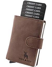 HIDE & SKIN 100% Genuine Leather RFID Blocking Men's and Women's Card Holder