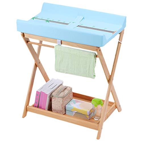 Hölzern Faltbar Wickeltisch wechseln Baby Kleinkind Falten Pflegestation mit Lagerung (Farbe blau) -